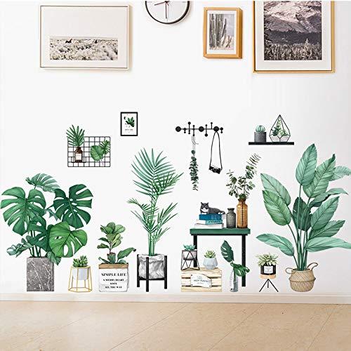 リビングルームの寝室のダイニングルームのためのプレミアムヴィンテージグリーン屋内植物ウォールステッカーウォール壁画壁飾り(DesignB)