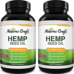 Natural Hemp Seed Oil Capsules - Pure Hemp Oil 1000mg Vegetarian Omega 3 Supplement for Joint Support Heart Health Immune Support with Omega 3-6-9 Healthy Hair Skin and Nails Vitamins - 2 Pack
