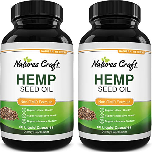 Natural Hemp Seed Oil Capsules - Pure Hemp Oil 1000mg Vegetarian Omega 3 Supplement for Joint Support Heart Health Immune Support with Healthy Hair Skin and Nails Vitamins - Omega 3-6-9 Hemp Pills