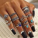 Arimy Juego de anillos de nudillos vintage apilables de plata, anillos de dedo con flores talladas huecas, tamaño mediano, anillos de nudillos, accesorios de mano para mujeres y niñas (13 piezas)