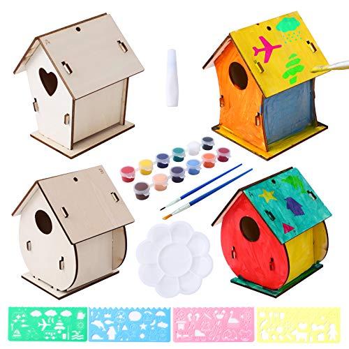 Herefun DIY Holz Vogelhaus Bausatz, DIY Vogelhaus Bemalen Kits Vogelhaus Pigment Bemalen Unvollendete Set, DIY Hölzernes Selber Bauen Vogelhäuser zum Puzzle Spielzeng Geburtstagsgeschenk für Kinder