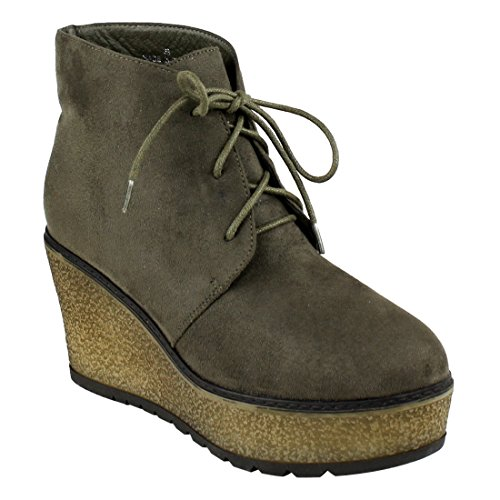 Beston EJ32 Women's Lace Up Platform Wedge Chukka Ankle Booties Half Size Small, Color:Olive, Size:9