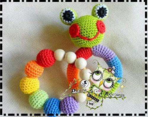 Sonajero y Mordedor PERSONALIZABLE PERSONALIZABLE ( Bebé, crochet, ganchillo, muñeco, peluche, niño, niña, lana, mujer, hombre ) MODA, ORIGINAL, FANTASÍA