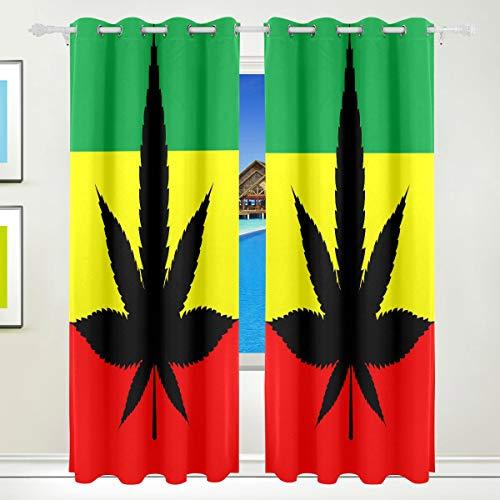 LZXO Cortinas opacas con 2 paneles, patrón de hojas de marihuana americana, con ojales y puertas para sala de estar, 72 x 55 pulgadas, poliéster, multicolor, 84x55 inch