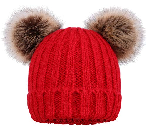 Arctic Paw Women Knit Beanie Cable Knit Beanie Hat Faux Fur Pompom Ears Red