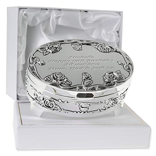De Walden Girl's 18th Birthday Gift Engraved Silver Plated Rose Trinket Box in a Presentation Box...
