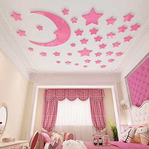 QTTZH 3D-muursticker, afneembaar, acryl, spiegel voor kinderen, slaapkamer, slaapkamer, slaapkamer, knutselen, decoratie