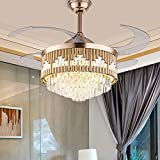 TFCFL Crystal Ceiling Fans with Lights, 42' Modern Luxury Invisible Chandelier Fan with Retractable Blades Remote Control 3 Speeds 3 Color Changes Lighting for Living Room Bedroom (Gold)
