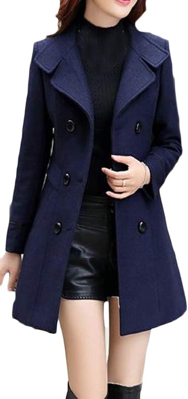 EtecredpowCA Women Slit Double Breasted Lapel Neck Casual Pocket Overcoat Wool Blend Coat Jacket