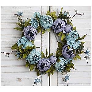 Flonding Artificial Wreath Summer Wreaths Decorative Fake Flower Wreath for Front Door Wall Window Wedding Home Decoration
