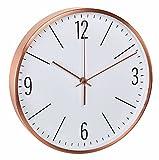 TFA Dostmann 60.3534.51 Reloj de Pared de Radio con Marco de Cobre y Movimiento Silenciosamente (Cobre con batería)