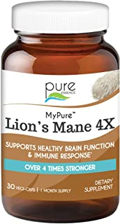 Pure Essence Labs MyPure Lions Mane 4X Mushrooms Supplement - 100% Real Mushroom Extract for Immune Support, Combat Stress...
