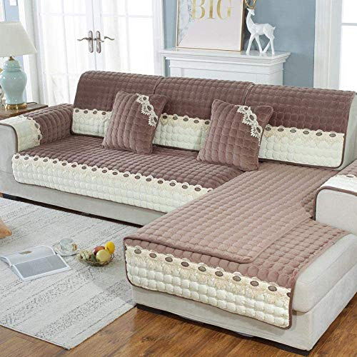 Suuki Protector de sofá seccional a Juego de Colores, Funda de sofá de Terciopelo súper Suave, Fundas de sofá de Felpa de Tienda de Invierno, Funda de sofá Modular-café_Los 90 * 90cm