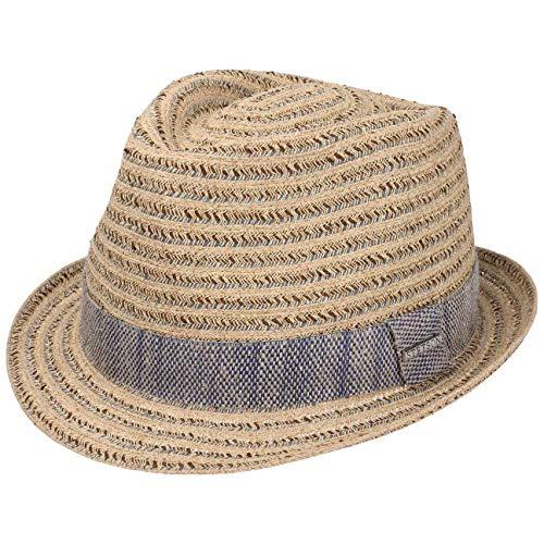 Stetson Lopez Toyo Trilby Strohhut Strohtrilby Sommerhut Sonnenhut Strandhut Damen/Herren - mit Ripsband Frühling-Sommer - M (56-57 cm) beige