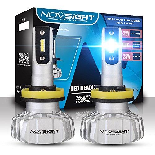 NOVSIGHT H11(H8 H9) Faros Delanteros Bombillas LED 50 W 10000LM 6500K Super Brillante Lámpara de Luces Blancas Frías para Coches, Vehículos, IP68 Impermeable (2 Piezas)