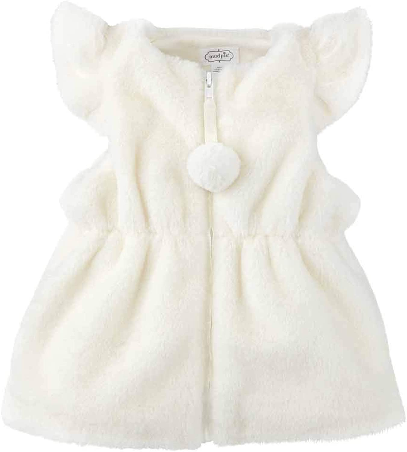 Mud Pie Baby Girls' Ivory Cinched Fur Vest: Clothing