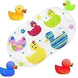 Topsky Tappetino antiscivolo, da doccia o vasca per bambini, con ventose e stampa di animali a colori vivaci, 39cm x 69cm Colorful Duck