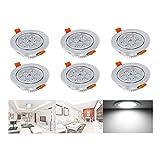 Hengda® LED Einbaustrahler Highpower Schwenkbar für den Wohnbereich | auch für das Bad geeignet | Kaltweiß | 7W 230V Einbauspots Badleuchten, 6er Pack Einbauleuchten