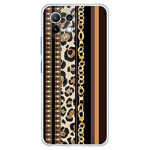Funda Transparente para [ Xiaomi Mi 11 Lite 4G/5G ], Carcasa de Silicona Flexible TPU, diseño : Estampado Dorado de Pulsera y Leopardo
