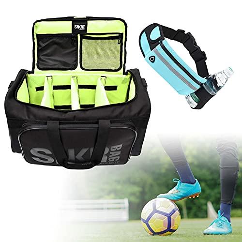JGUSVYT Zapatos Fit Bag Neutral Sneaker Bag Divisores de Compartimentos Ajustables Sports Gym Bag Correa de Hombro ensanchada Ball Shoe Bag para Hombres y Mujeres-Black Text