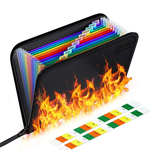 Feuerfeste Dokumententasche - ABClife Expanding File Folder Tragbare feuerfeste Accordion Document Organizer Datei A4 mit feuerfesten Reißverschluss für Vertrag Pässe,Wertsachen,Batterien (Bunt)