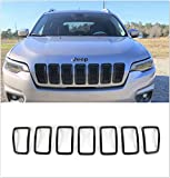 Meyffon Front Grill Cover Insert Trims Fits Jeep Cherokee 2019-2020 Grille Frame Trim Rings Kit Black 7pcs