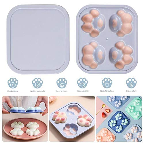 DQC Silicone Ice Box Cat Paw Ice Cube Mould Home Frozens Ice Tray Refrigerator Plastic Ice Hockey with Lid Food Supplement Box,a