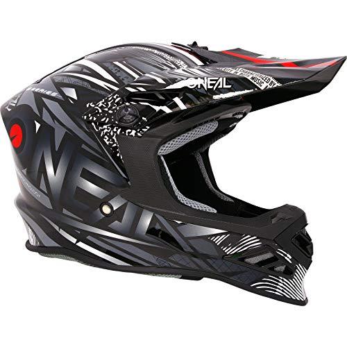 O'NEAL | Casco Motocross | MX Enduro Motorcycle | Innovativo e leggero guscio esterno in fibra di vetro, compatibile con Neckbrace | 8SRS Helmet Synthy | Adulto | Nero | Taglia M (57/58 cm)