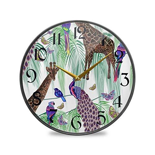 ART VVIES Reloj de Pared Redondo de 9,5 Pulgadas, silencioso, Funciona con Pilas, para Oficina, Cocina, Dormitorio, decoración para el hogar, Animales, Jirafas, Pavos Reales, Loros, Mariposas, Palma