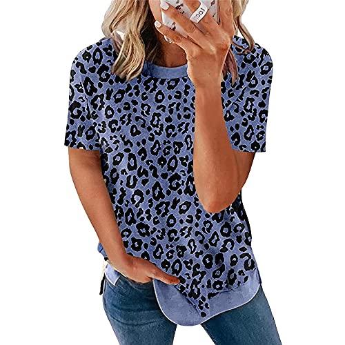 Camiseta Mujer Sexy Leopardo Patrón Cuello Redondo Manga Corta Mujer Tops Suelto Cómodo Moda Casual Verano Nuevo Chic Mujer Shirt Mujer Camisas C-Navy M