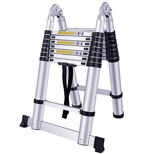 MCTECH® Aluminium Teleskopleiter 5m klappbar Multifunktionsleiter Aluleiter Klappleiter 150 kg Belastbarkeit (5m klappbar)