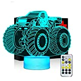 Night Lights for Kids Monster Truck 3D Night Light Bedside Lamp 7 Colors Changing with Remote Control and Timing Function Best Birthday Gifts for Boys Girls Kids Baby