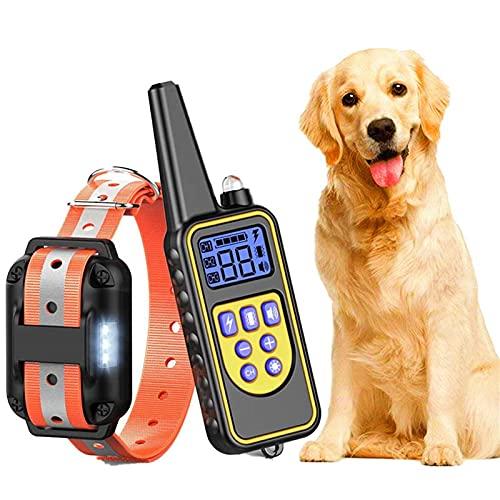 Antibell Halsband Hund Leuchthalsband Hunde Wasserdicht Erziehungshalsband Hund mit 800 Yards Fernbedienung ,Reflektierendes Vibrationshalsband für Hunde,Leder Hundehalsband für Kleine Große Hunde