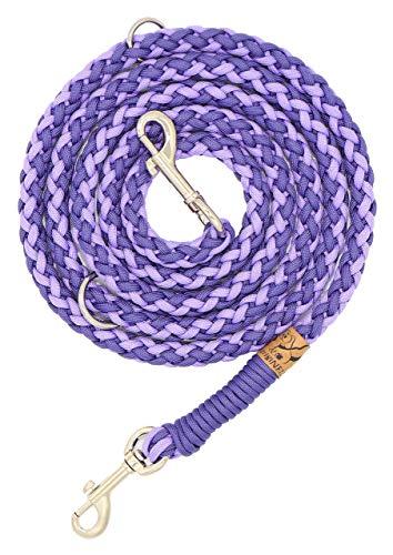 Hundeleine Balu aus Paracord, Führleine, Deep Purple - Lilac, Handgeflochten, Individuelle Länge, Mehrfach Verstellbar, 1.5 Zentimeter breit