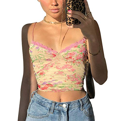 Huyghdfb Women's Lace Crop Top Sexy V Neck Spaghetti Strap Tank Top Cami Sleeveless Patchwork Camisole Shirt (Yellow-Floral, M)