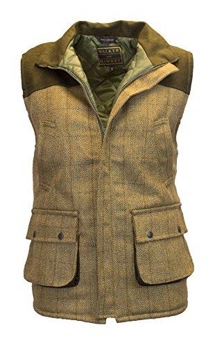 Walker and Hawkes Herren Country-Weste aus Tweed mit verstärkten Schultern - für die Jagd geeignet - Helles Salbeigrün - Größe S (38