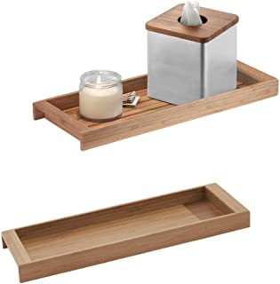 """iDesign Formbu ECO Vanity, Cosmetic Organizer Tray for Bathroom - Pack of 2, Natural Bamboo,16"""" x 6"""" x 1.5"""", Set of 2"""