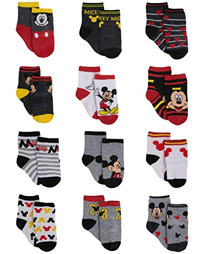 Disney Baby Boys Mickey Mouse Assorted Color Design 12 Pair Socks Set, (12-24 Months, Black-Grey-Red Collection)