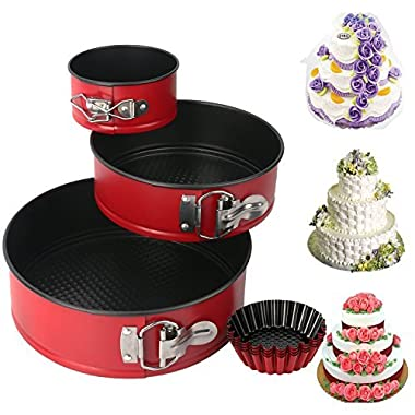 Springform Pan set, MCIRCO Nonstick Leakproof 3pcs(4 /7 /9 ) Cake Pan Bakeware Cheesecake Pan with 4pcs Egg Tart Mold (Set of 7pcs)