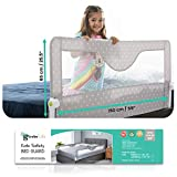 Girobe Kids Bed Rail for Toddler Bed Extra Long with Foldable Button, Babies Sleep Safety. Detachable on Tween, Full, Queen, and King Size Bed and Mattress (Grey, 59 in)