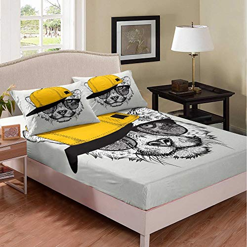 richhome Juego de sábanas de oso sombrero amarillo para niños y niñas King Lovely Hippie Juego de cama moderno de animales salvajes con bolsillo profundo para cama de 3 piezas ropa de cama