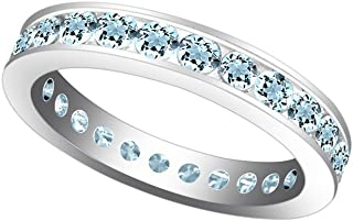 Jewel Zone US Simulated Aquamarine Stackable Eternity Band Ring in 14k Gold Over Sterling Silver