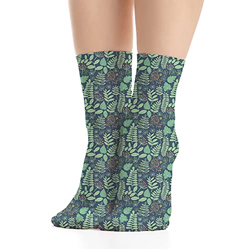 Men's and Women's Funny Casual Combed Cotton Socks,Various Leaves and Berries Fresh Spring Foliage on Dark Background