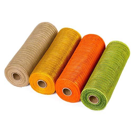 LaRibbons Deko-Polymer-Netzband, 25,4 x 9 m, metallische Folie, Orange / Silber / Schwarz / Violett, 4 Stück 10 Inches Gold + Orange + Braun + Grün