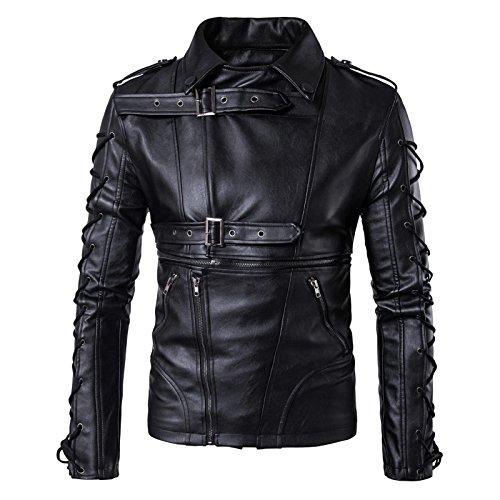 WSLCN Jaqueta masculina gótica de couro sintético com cadarço e gola clássica de motociclista casaco com zíper outono, Preto, XS