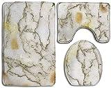 Chic Golden MarbleInstrument Trompeta Juego de 3 alfombras de baño antideslizantes extra suaves absorbentes lavables en forma de U alfombra de inodoro y alfombra de baño