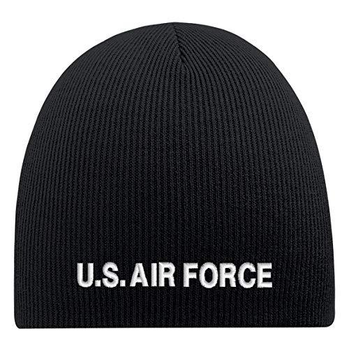 Beanie-muts met borduursel - USS. AIR FORCE - wollen muts wintermuts gebreide muts - 54803 zwart