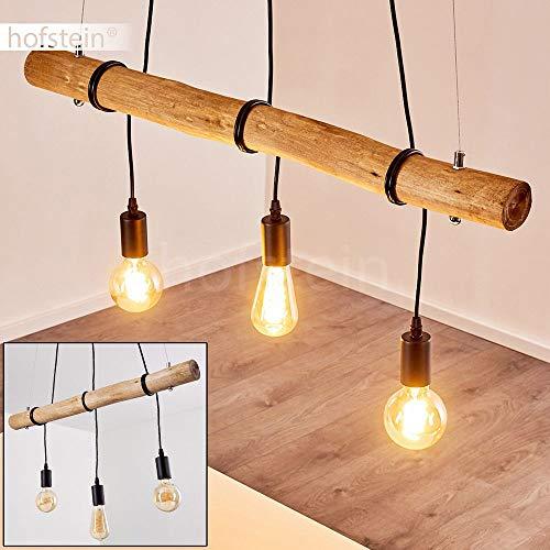 Lampada a sospensione Seegaard, in metallo/legno in nero/marrone, a 3 luci, attacco lampadine E27, max. 60 Watt, adatta per lampadine a LED. Altezza regolabile (max. 122 cm)