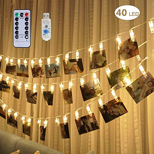 40 LED Photo Clip Lights - Adecorty 8 Modes USB Powered Photo Clips String Lights with Remote & Timer, Cards Pictures Holder for Christmas Wedding Dorm Bedroom Decor (16.4ft, Warm White)