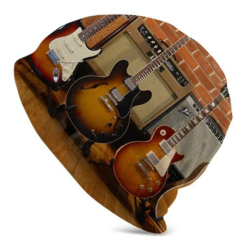 Fodmua Guitarra eléctrica Instrumento musical 10 Adulto Knit Sombreros Casual Unisex Beanie Hat Impresión Skull Cap Negro para hombres y mujeres